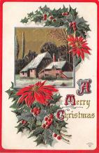 xms006177 - Christmas Post Card Old Vintage Antique Xmas Postcard