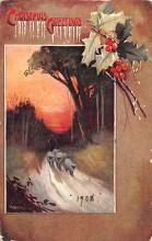 xms006215 - Christmas Post Card Old Vintage Antique Xmas Postcard
