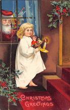 xms006229 - Santa Claus Post Card Old Antique Vintage Christmas Postcard