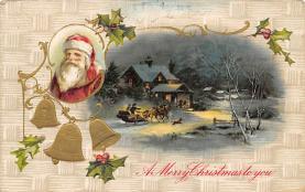xms006233 - Santa Claus Post Card Old Antique Vintage Christmas Postcard