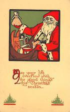 xms100011 - Santa Claus Post Card Old Vintage Antique Christmas Postcard