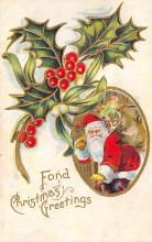 xms100013 - Santa Claus Post Card Old Vintage Antique Christmas Postcard
