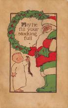 xms100019 - Santa Claus Post Card Old Vintage Antique Christmas Postcard