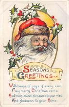 xms100021 - Santa Claus Post Card Old Vintage Antique Christmas Postcard