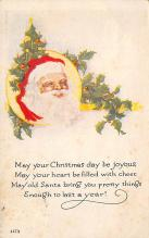 xms100023 - Santa Claus Post Card Old Vintage Antique Christmas Postcard