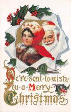xms100025 - Santa Claus Post Card Old Vintage Antique Christmas Postcard