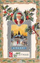 xms100027 - Santa Claus Post Card Old Vintage Antique Christmas Postcard