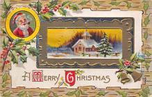 xms100029 - Santa Claus Post Card Old Vintage Antique Christmas Postcard