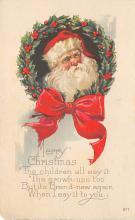 xms100045 - Santa Claus Post Card Old Vintage Antique Christmas Postcard