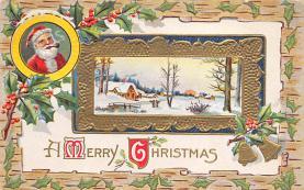 xms100051 - Santa Claus Post Card Old Vintage Antique Christmas Postcard