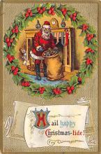 xms100057 - Santa Claus Post Card Old Vintage Antique Christmas Postcard