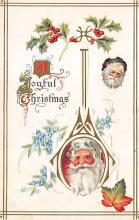 xms100059 - Santa Claus Post Card Old Vintage Antique Christmas Postcard