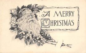 xms100063 - Santa Claus Post Card Old Vintage Antique Christmas Postcard