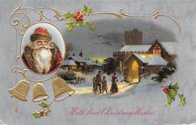 xms100065 - Santa Claus Post Card Old Vintage Antique Christmas Postcard