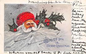 xms100067 - Santa Claus Post Card Old Vintage Antique Christmas Postcard