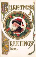 xms100069 - Santa Claus Post Card Old Vintage Antique Christmas Postcard