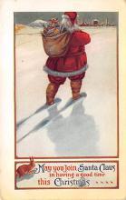 xms100075 - Santa Claus Post Card Old Vintage Antique Christmas Postcard