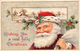 xms100077 - Santa Claus Post Card Old Vintage Antique Christmas Postcard