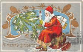 xms100081 - Santa Claus Post Card Old Vintage Antique Christmas Postcard