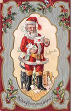 xms100085 - Santa Claus Post Card Old Vintage Antique Christmas Postcard