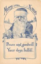 xms100089 - Santa Claus Post Card Old Vintage Antique Christmas Postcard