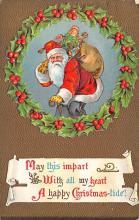 xms100091 - Santa Claus Post Card Old Vintage Antique Christmas Postcard