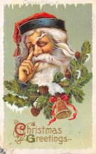 xms100099 - Santa Claus Post Card Old Vintage Antique Christmas Postcard