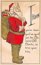 xms100103 - Santa Claus Post Card Old Vintage Antique Christmas Postcard