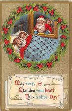 xms100105 - Santa Claus Post Card Old Vintage Antique Christmas Postcard