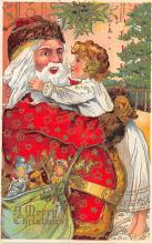 xms100107 - Santa Claus Post Card Old Vintage Antique Christmas Postcard