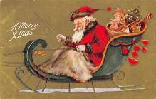 xms100111 - Santa Claus Post Card Old Vintage Antique Christmas Postcard