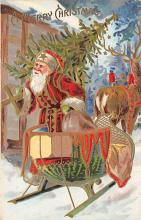 xms100113 - Santa Claus Post Card Old Vintage Antique Christmas Postcard