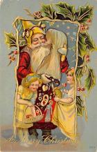 xms100115 - Santa Claus Post Card Old Vintage Antique Christmas Postcard