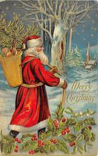 xms100129 - Santa Claus Post Card Old Vintage Antique Christmas Postcard