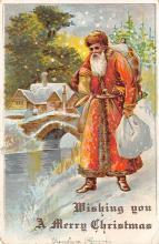 xms100131 - Santa Claus Post Card Old Vintage Antique Christmas Postcard