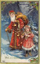 xms100135 - Santa Claus Post Card Old Vintage Antique Christmas Postcard