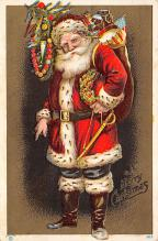 xms100137 - Santa Claus Post Card Old Vintage Antique Christmas Postcard
