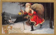 xms100139 - Santa Claus Post Card Old Vintage Antique Christmas Postcard