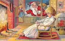 xms100141 - Santa Claus Post Card Old Vintage Antique Christmas Postcard