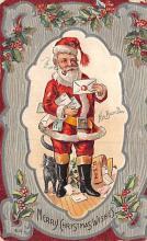 xms100143 - Santa Claus Post Card Old Vintage Antique Christmas Postcard
