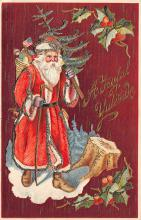 xms100145 - Santa Claus Post Card Old Vintage Antique Christmas Postcard