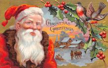 xms100147 - Santa Claus Post Card Old Vintage Antique Christmas Postcard