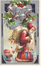 xms100153 - Santa Claus Post Card Old Vintage Antique Christmas Postcard