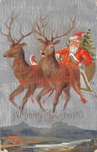 xms100155 - Santa Claus Post Card Old Vintage Antique Christmas Postcard