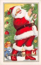 xms100159 - Santa Claus Post Card Old Vintage Antique Christmas Postcard