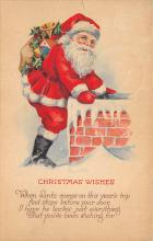 xms100163 - Santa Claus Post Card Old Vintage Antique Christmas Postcard