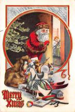 xms100165 - Santa Claus Post Card Old Vintage Antique Christmas Postcard