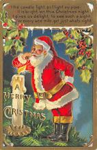 xms100179 - Santa Claus Post Card Old Vintage Antique Christmas Postcard