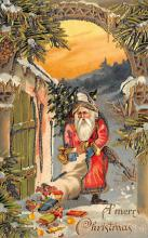 xms100185 - Santa Claus Post Card Old Vintage Antique Christmas Postcard