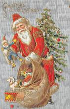 xms100189 - Santa Claus Post Card Old Vintage Antique Christmas Postcard